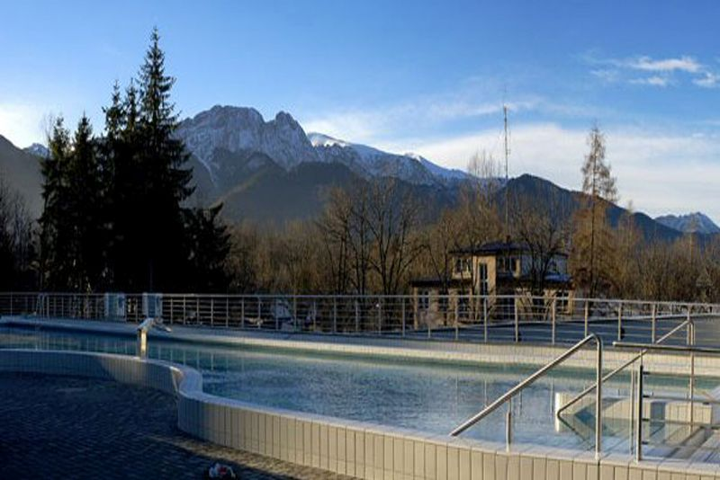 Swimming polls with a view of Giewont Mountain